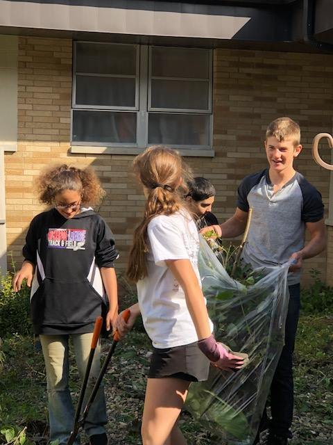 Courtyard cleanup at the elementary