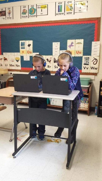 2nd Graders with stand up desks