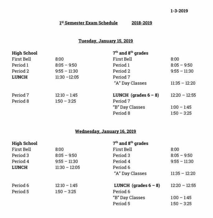 Middle and High School Semester Exam Schedule