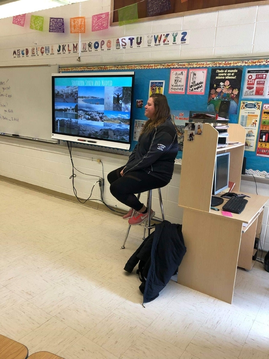 Former Hillsboro graduate, Morgan Huntley, presented to all high school Spanish classes about her semester abroad in Spain