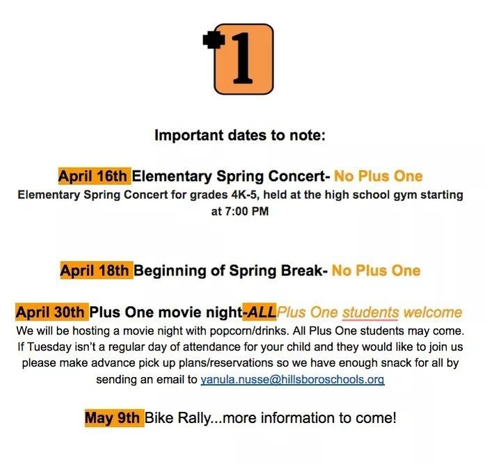 Important Dates-Plus One