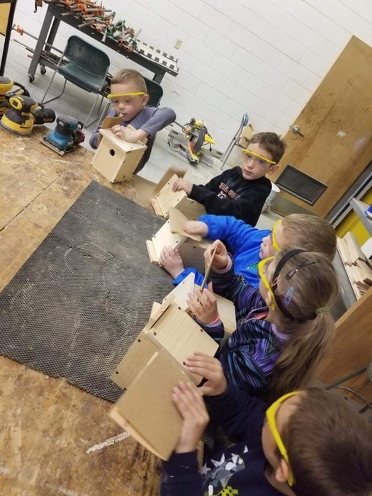 1st Graders in wood shop