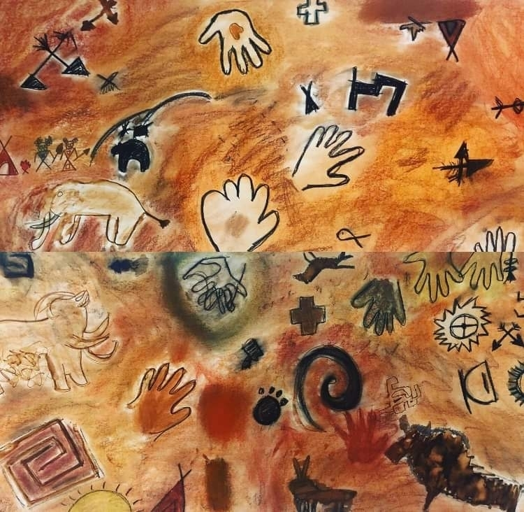 "Elementary ""cave wall"" mural"