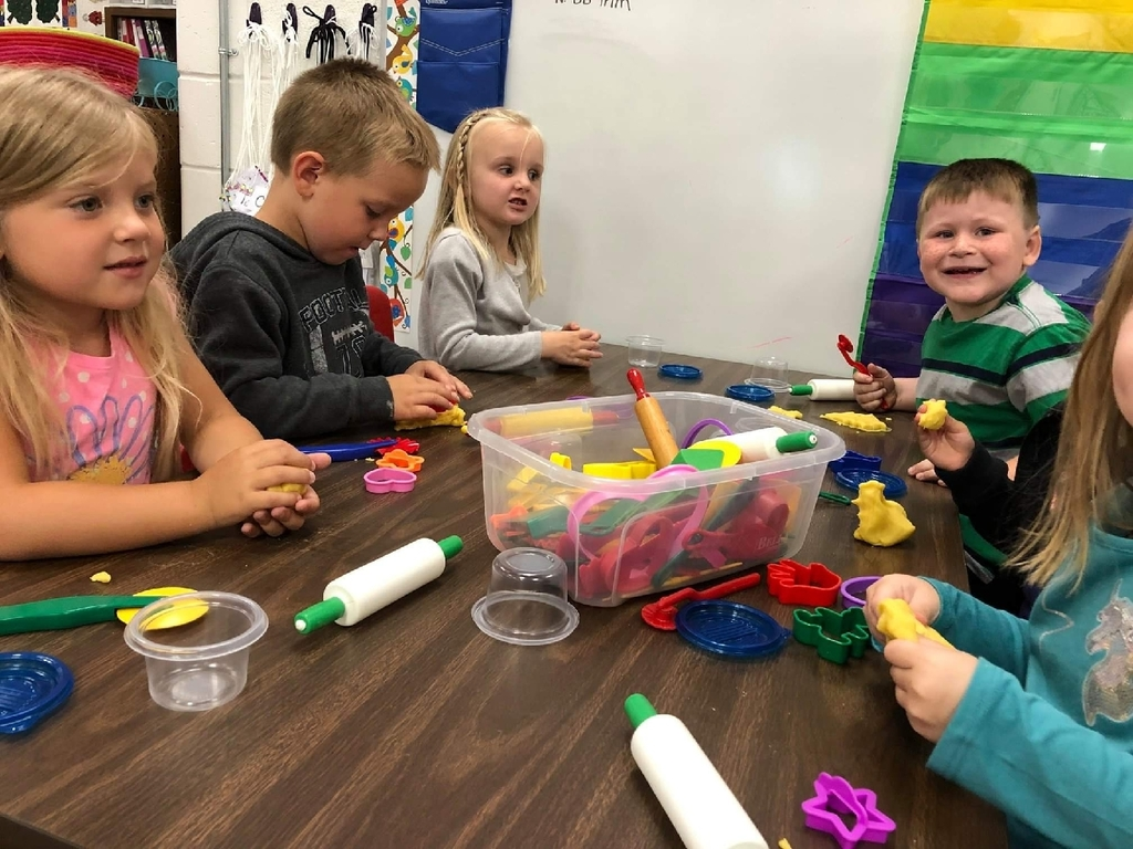 Mrs. Kraska's 4K friends love playing and creating with play-dough
