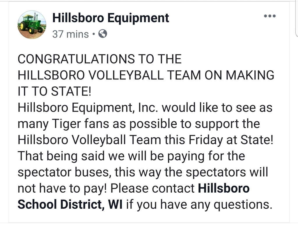 Hillsboro Equipment Generosity