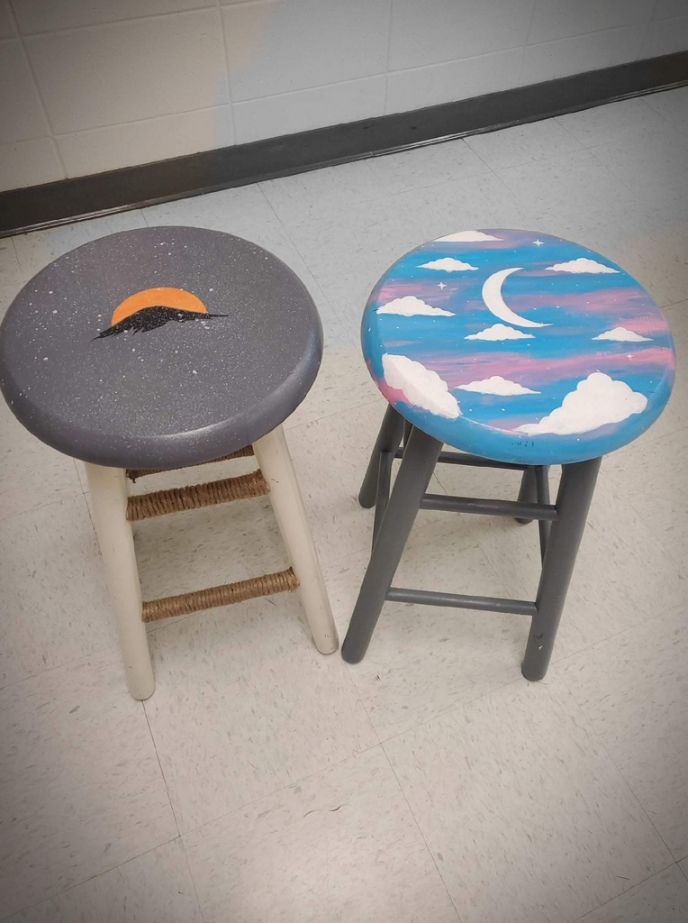 Upcycled stools by HHS students