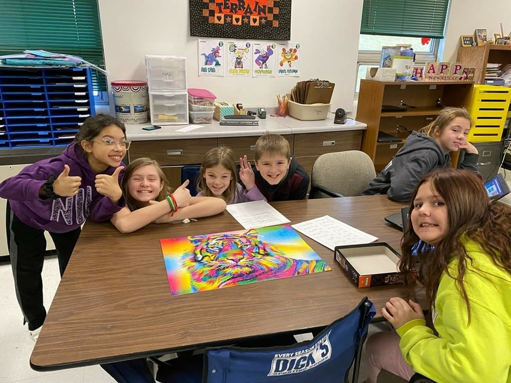 Mrs. Frederick's class worked tirelessly on their tiger puzzle