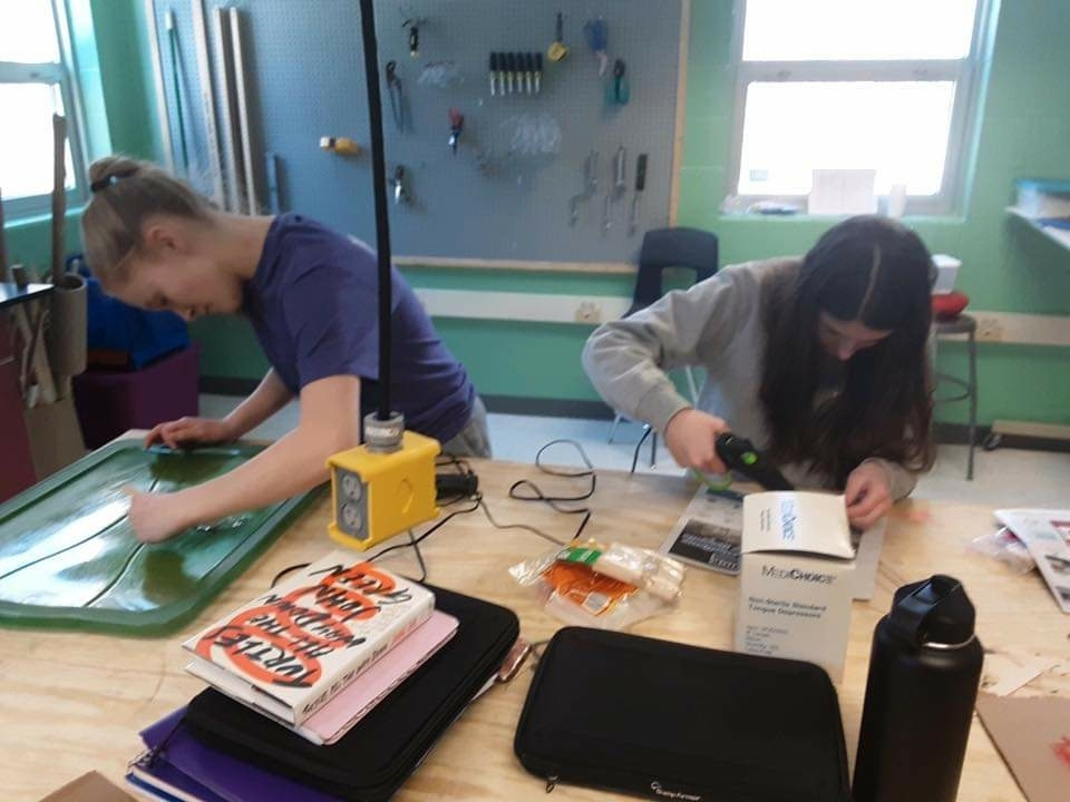 Freshmen have been completing their museum artifact projects for their History and English 9 classes in the Makerspace
