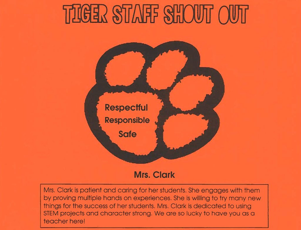 Tiger Staff Shoutout