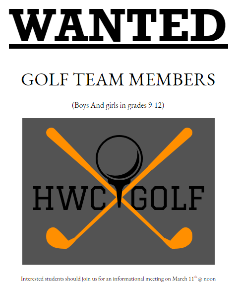 Golf Team Sign up