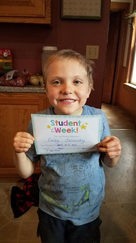 "Finley was selected as ""Student of the Week"" last week in farm/home school"